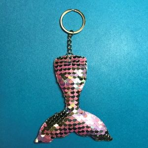 Accessories - Pink and Silver Mermaid Tail Sequined Keychain